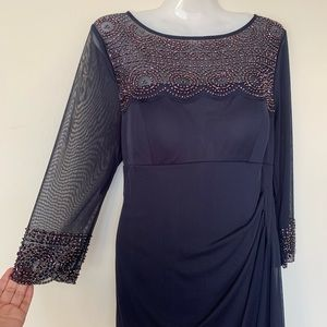 Xscape navy gown embellished mesh sleeves size 12